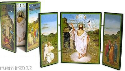 Russian Icon Wooden Triptych Resurrection of Christ Jesus fordable doors