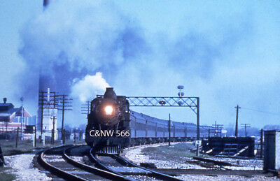 Steam Action Slide - C&NW 566, 4-6-2, at Mayfair, IL on 05/03/1956