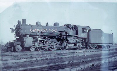 Steam Roster Slide - C&NW 657, 4-6-2, at Des Plaines, IL in 1955