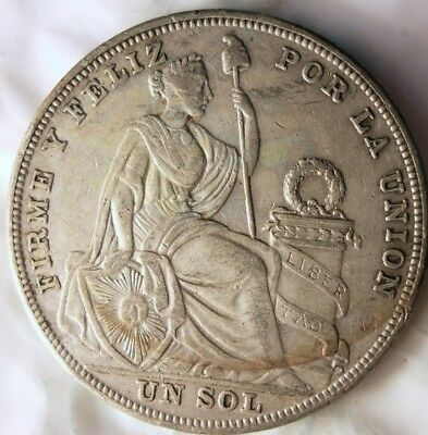 1925 PERU SOL - HIGH GRADE Excellent Low Mintage Silver Coin - Lot #817
