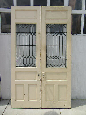 ~ Antique Stained Glass Double Entrance French Doors ~ 60 X 101 ~ Salvage