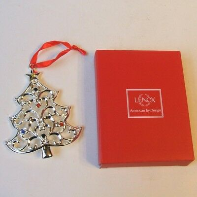Lenox Sparkle & Scroll Silverplate Christmas Tree Ornament Multi Color Crystals