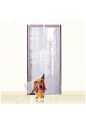 White Magnetic Screen Door,Heavy Duty Mesh Screen & Full Frame  Pets Dogs Cats