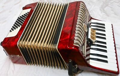 Vintage 48 Bass Accordion Made In Germany With Case And Books