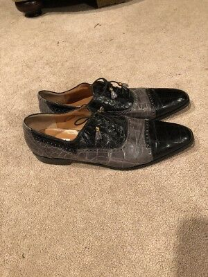 Genuine Mauri Alligator Black & Gray Two Tone Lace Up Shoes Size 16
