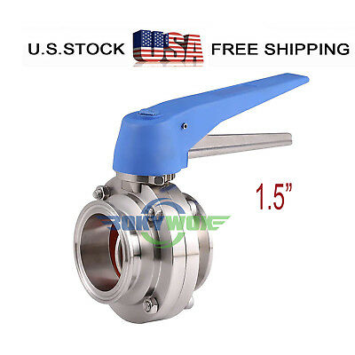 """1.5"""" Sanitary Butterfly Valve Clamp Multi-Position Handle 304 Stainless Steel"""