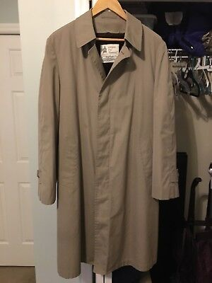 Men's London Fog Lined Warm Beige Trench Coat - Double Breasted - 40R