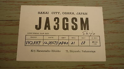 Old Japanese Ham Qsl Radio Card, 1973 Sakai City Osaka Japan, Ja3Gsm
