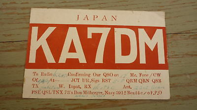 Old Japanese Ham Qsl Radio Card, 1954 Us Military Japan, Ka7Dm