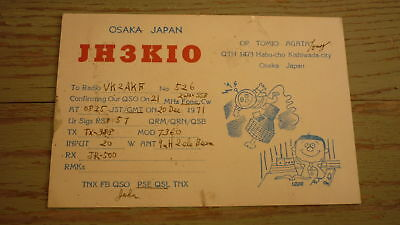 Old Japanese Ham Qsl Radio Card, 1971 Kishiwada City Osaka Japan, Jh3Kio