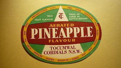 OLD AUSTRALIAN SOFT DRINK CORDIAL LABEL, TOCUMWAL CORDIALS NSW, PINEAPPLE 1950s