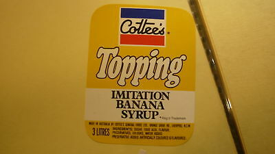 OLD AUSTRALIAN SOFT DRINK CORDIAL LABEL, COTTEES TOPPING, BANANA 1980s