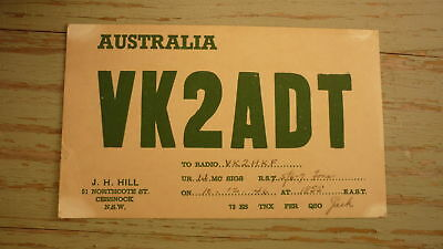 Old Australian Ham Qsl Radio Card, 1946 Cessnock New South Wales Vk2Adt