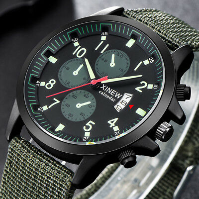 Military Mens Quartz Canvas Strap Watch Analog Mens Sports Army Luminous Watch