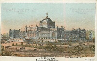 "2 3/4"" x 4 3/8"" (Memorial Hall) 1876 Philadelphia Centennial Exposition Card"