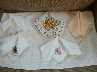 Vintage Handkerchief Hankies Floral Mixed Lot Of 5