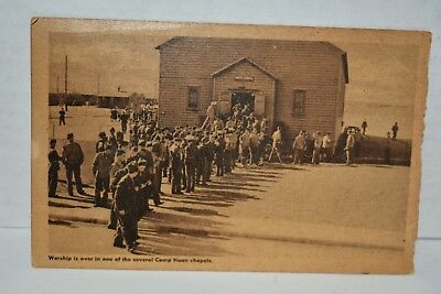 WWII Army Training Camp Haan CA  R.P. Postcard Soldiers Leaving Chapel