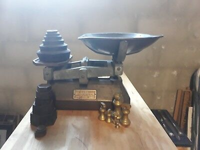 Wedderburn scales.  Antique cast iron scales with a selection of weights.