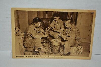 WWII Army Training Camp Haan CA  R.P. Postcard There's Always K.P.