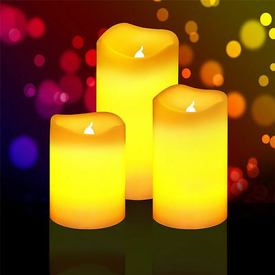 Flameless Resin Pillar LED Candles Flickering Light Battery Operated with Timer