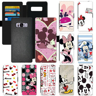 Disney Cartoon Mickey Mouse Flip PU Leather Wallet Phone Case Cover For Apple LG