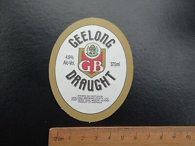 1 x 375ml GEELONG DRAUGHT VICTORIA COLLECTABLE BEER LABEL