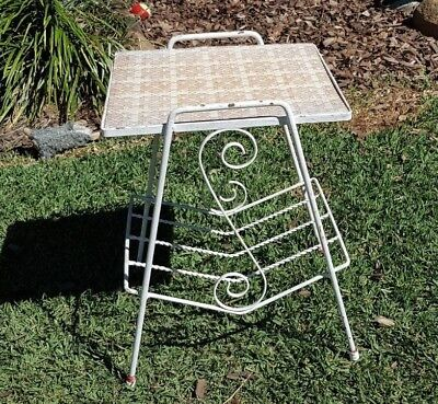 Vintage retro iron metal magazine stand table rack - Pick up Newmarket, Brisbane