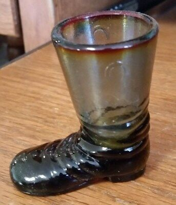 Vintage Boyd Glass Texas Boot Toothpick Holder/Shot Glass-Brown/Blue