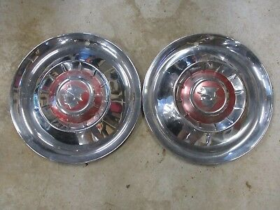 "2 ANTIQUE CHROME Vintage 1950's 15"" MERCURY HUBCAPS MERCMAN Original Stock"