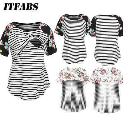 US Maternity Clothes Breastfeeding Shirt For Pregnant Womens Nursing Top Cotton