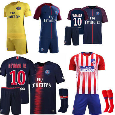 2018-19 Newest Football Kit Soccer Short Sleeve Jersey Kid Boys 3-14Y Team Suits