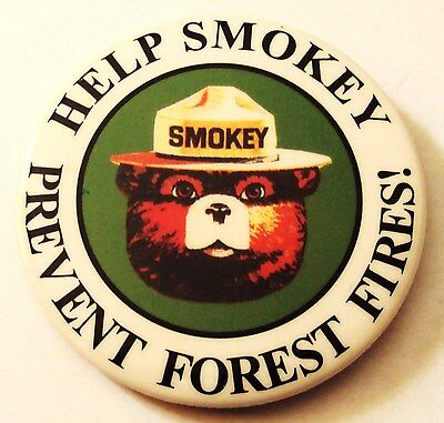 Vintage Help Smokey Prevent Forest Fires Smokey the Bear Button Pin Back ~ Nice