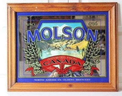 Vintage Molson Beer Ale Imported from Canada sign Mirror with Ducks 16 x 20