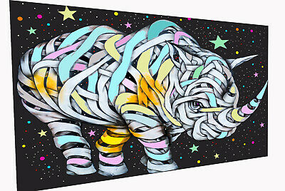 Painting Graffiti Street Art Banksy RHINO BLACK  bandage Canvas Australia
