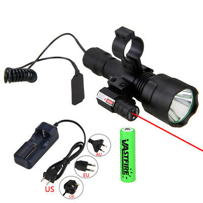 Tactical 5000LM White LED Flashlight Hunting Torch Gun Light Switch Mount 18650