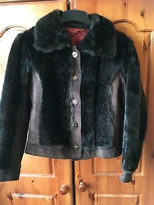 Ladies Vintage Second hand Faux Fur & Suede Coat jacket Winter Brown Black