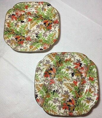Vintage Pair of James Kent Chintz Lichfield Pattern Side Plates