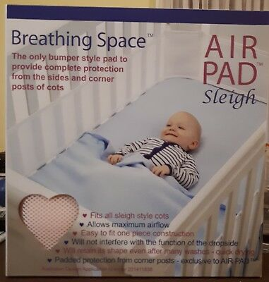 Sweet Dreams Air Pad-Sleigh Cot Bumper Style Mesh Safety Protection COLOUR -PINK