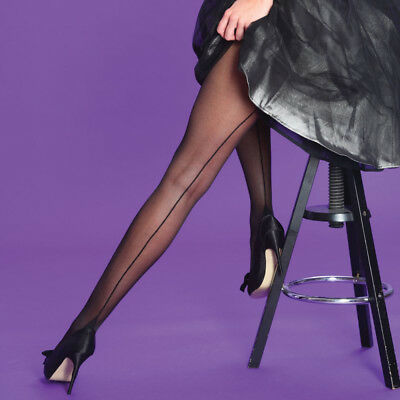 Ladies Stylish Women/'s Opaque Seamer Scarlet Tights By Silky M L