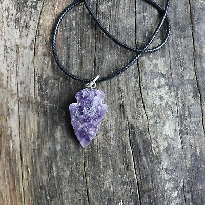 Natural Shape Amethyst Quartz Crystal Stone Pendant Necklace Jewelry