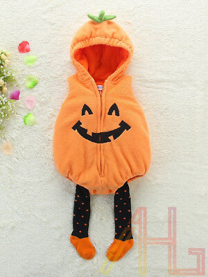 Baby Toddler Boy Girl Pumpkin Costume Halloween Fancy Dress Party Outfit 3-18M
