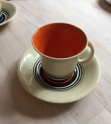 Susie Cooper cup and saucer, orange, black and cream