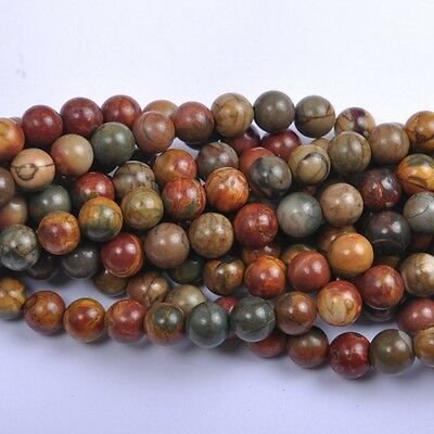 10Pcs Natural Picasso Gemstone Round Spacer Loose Beads 10MM #12