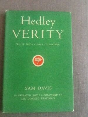 HEDLEY VERITY Prince With a Piece of Leather by Sam Davis 1952 Cricket Book w/DJ