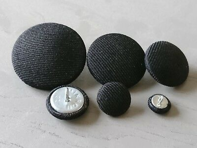 Black Suit Fabric Buttons 10mm 16mm 20mm 25mm 31mm 37mm Small, Medium & Large