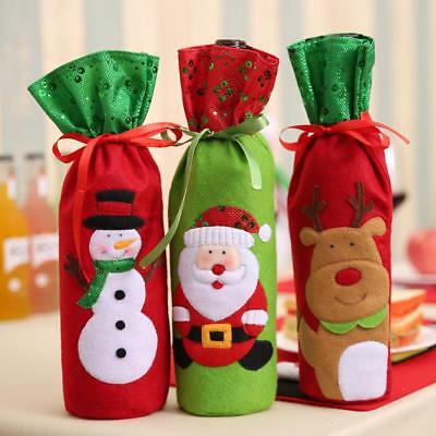 Santa Claus Wine Bottle Bags Gifts Champagne Home Dinner Party Table Decors