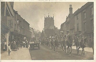 Alcester, Warks: South African? Light Horse parade1900-05; RPPC B&W