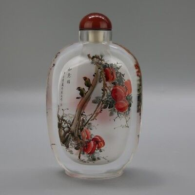 Amazing Inner painted suff bottle with birds and peach blossoms