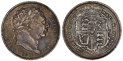 1817 George III sixpence Great Britain silver coin