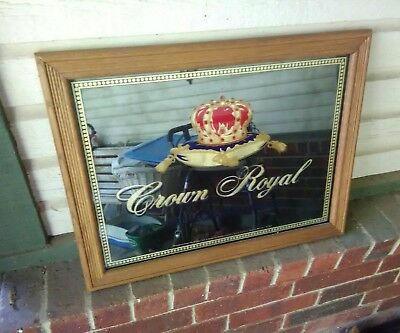 Wood frame CROWN ROYAL Whiskey Legendary Import Gold Shimmer/Purple sign mirror